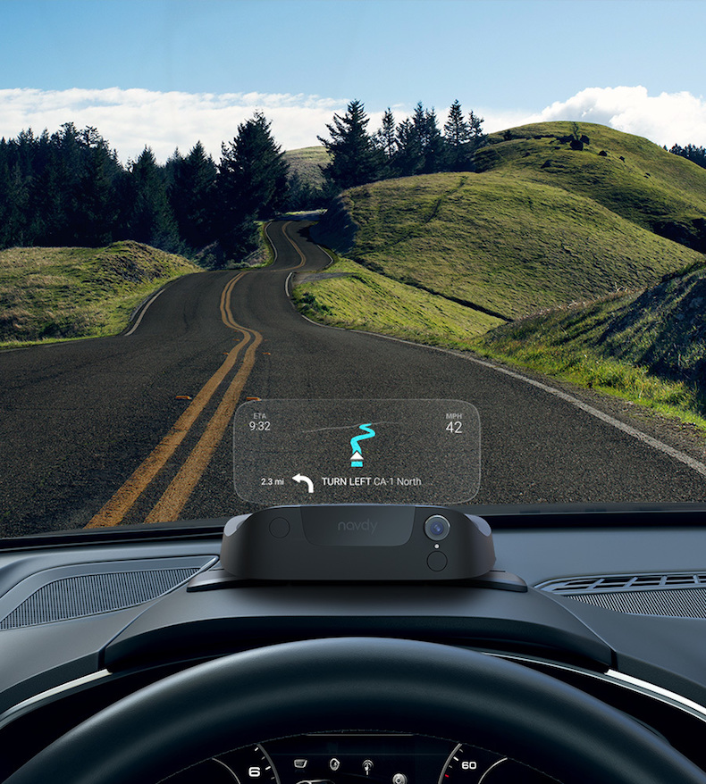 Navdy sits on top of your dash while you drive.