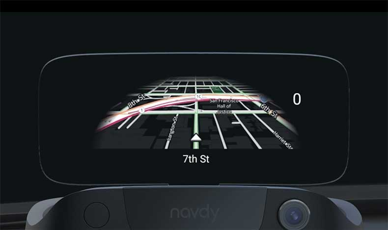 Navigating with Navdy's maps.
