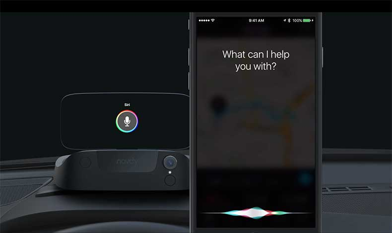 Navdy integrates with Siri and Google Play.