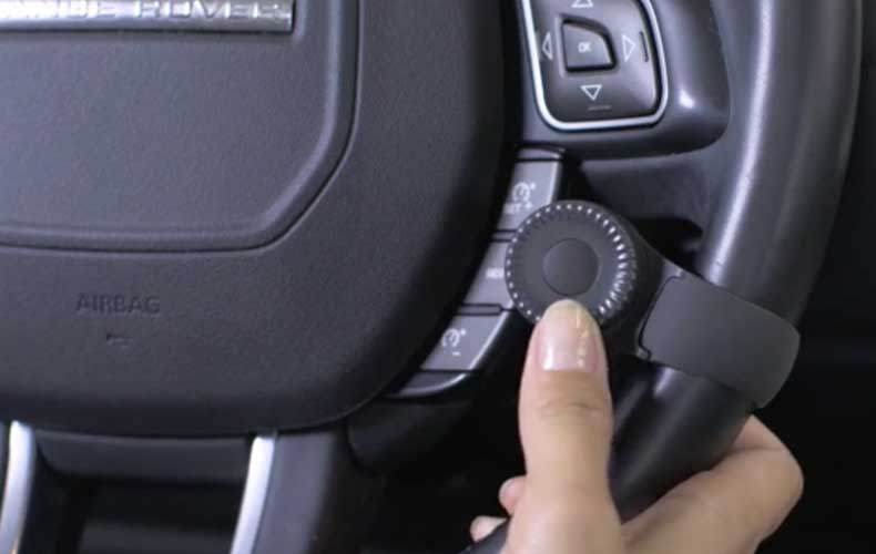 The Navdy Dial is attached to your steering wheel.