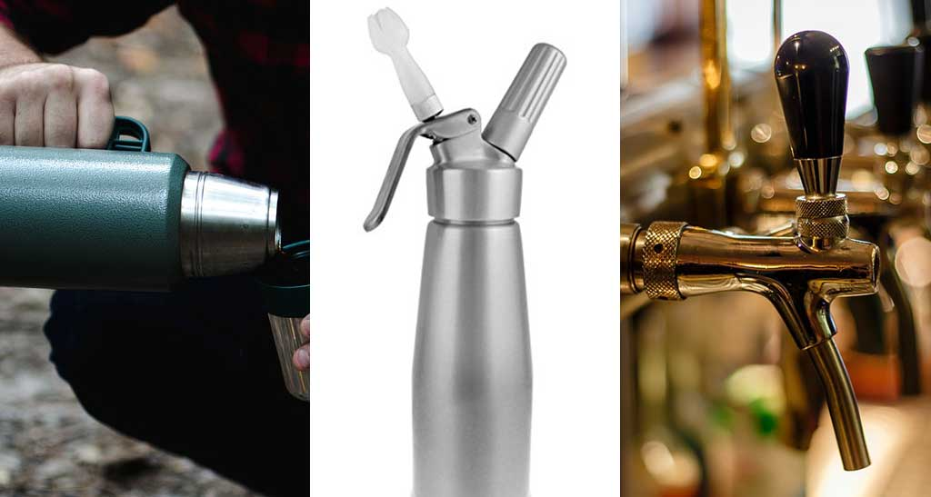 uKeg - Thermos, Whip Cream container and a beer tap in a growler