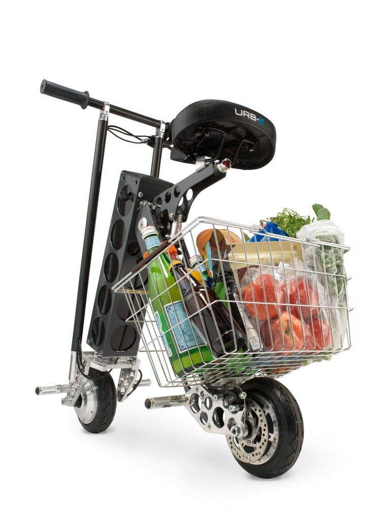Seen here with a basket accessory, the URB-E is the perfect urban electric scooter.