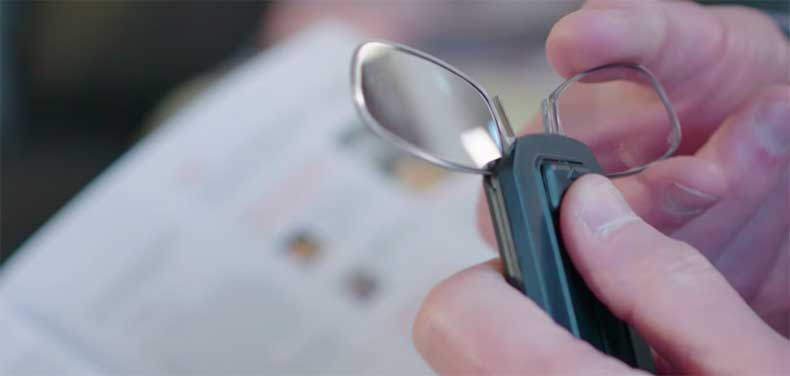 Thinoptics reading glasses are small enough to fit on your keychain or cellphone.